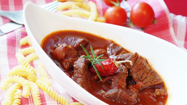 goulash, meat, beef