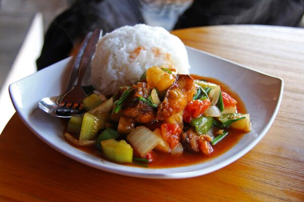 rice, fried fish, sweet and sour fish
